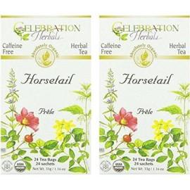 La cola de caballo Celebration Herbals Orgánica de té sin cafeína - 24 bolsas de té de hierbas