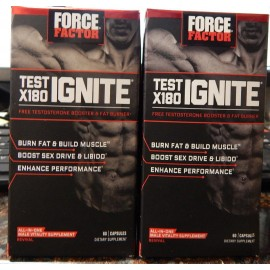 Force Factor 120ct prueba X180 Ignite testosterona libre Sex Booster quemador de grasa 2PK