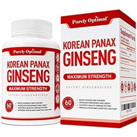 Premium Korean Red Panax Ginseng 1200mg - Maximum Strength Root Powder Supplement w-Ginsenosides - Boost Energy Stamina