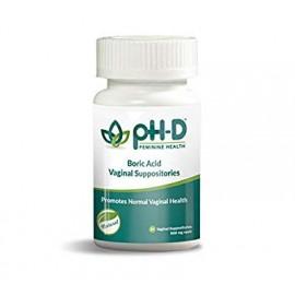 pH D-Support Femenino Salud por especie de ave ácido bórico supositorios vaginales una botella de 24 (600 mg)