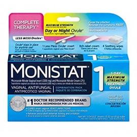 Monistat 1 Terapia completa vaginales antihongos 1-día Maximum Strength Paquete de tratamiento de combinación de óvulos