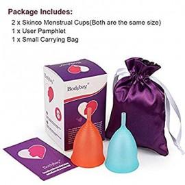 Bodybay copa menstrual Conjunto de 2 períodos de equipo acompañado Registrado en la FDA la mejor protección femenina alternat