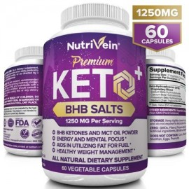 Nutrivein Keto Diet Pills 1250mg - Advanced Ketogenic Diet Weight Loss Supplement - BHB Salts Exogenous Ketones Capsules