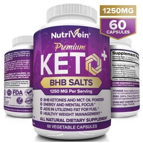Nutrivein Keto Diet Pills 1250mg - Advanced Ketogenic Diet Weight Loss Supplement - BHB Salts Exogenous Ketones Capsules