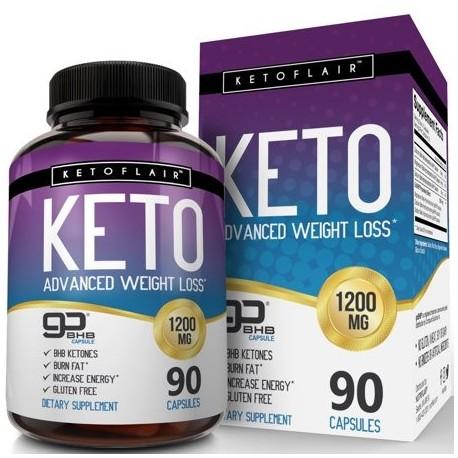 NutriFlair Keto Diet Pills 1200mg 90 Capsules - Advanced Weight Loss Ketosis Supplement - BHB Salts (beta hydroxybutyrate)