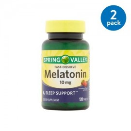 (2 Pack) Spring Valley melatonina Fast Disolver Tablets 10 mg 120 Ct