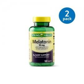 (2 Pack) Spring Valley melatonina Tablets 10 mg 120 Caps