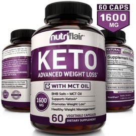 NutriFlair Keto Diet Pills 1600mg - Advanced Weight Loss Ketosis Supplement - BHB Salts (beta hydroxybutyrate) Ketogenic Carb