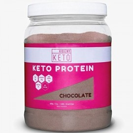 Kiss My Keto Chocolate Keto Protein Powder - MCT Oil Powder C8 with Grass-Fed Collagen Peptides 25 Servings