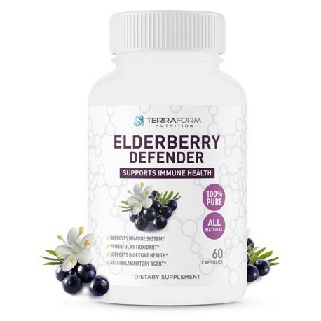 Natural Black Elderberry Supplement – Immunity Defender – Daily Immune Support Supplement – Max Strength 1200mg