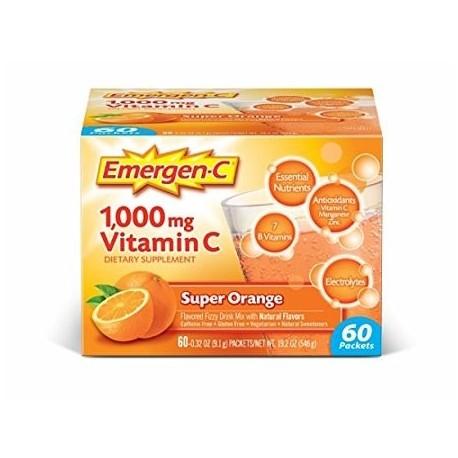 Emergen-C - Super Orange - Fizzy Drink Mix with 1000mg Vitamin C 60 Count