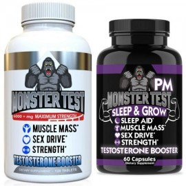 Monster Test Testosterone Booster - Monster PM Sleep Aid for Men (2-Pack)