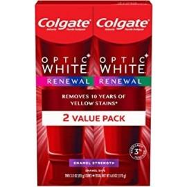 Pasta de dientes blanqueadora Colgate Optic White Renewal con esmalte de fluoruro 3 onzas 2 pack