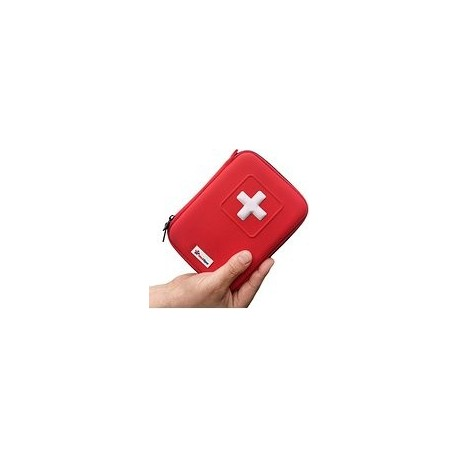 MINI FIRST AID KIT IN RED HARD CASE (100 IMPLEMENTOS)