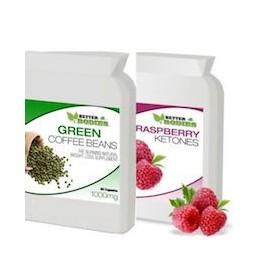 RASPBERRY KETONE Y GREEN COFFEE BEAN EXTRACT 2 FRASCOS DE 60 CAPS