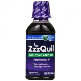 ZzzQuil Nighttime Sleep-Aid Liquid, Calentamiento Berry Flavor 12 oz (Pack de 4)