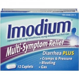 Paquete de 2 Multi-Symptom Relief Diarrea Calambres Distensión de gas 12 Cápsulas Cada