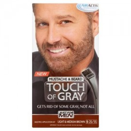Just For Men Touch of Grey Color de cabello el bigote y la barba del kit luz y Mediana Brown B-25-35 1 ea
