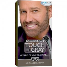 Just For Men Touch of Grey Color de cabello el bigote y la barba del kit luz y Mediana Brown B-25-35 1 ea (Pack de 3)