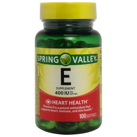 Spring Valley La vitamina E Corazón - Salud del sistema inmunológico Suplemento dietético 100 ct