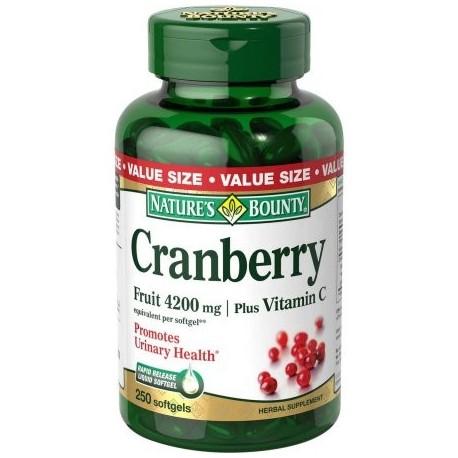 Nature's Bounty Cranberry Fruit además Vitamina C Hierbas Cápsulas Suplemento 4200mg 250 recuento