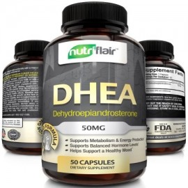 NutriFlair Premium Quality DHEA Supplement 50MG (50 Capsules) - Promotes Balanced Hormone Levels for Men - Women