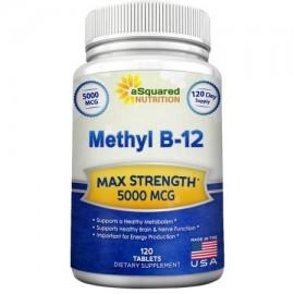 La vitamina B12 aSquared Nutrition - 5000 MCG Suplemento con metilcobalamina (Metil B12) - Max Fuerza vitamina B 12 Soporte