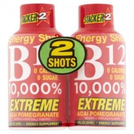 Stacker 2 Extreme Acai granada B12 10000% Energy Shot 2 onzas fluidas 2 recuento