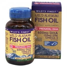 Wiley's Finest - Wild Alaska aceite de pescado Prenatal DHA 600 mg. - 60 Cápsulas Blandas