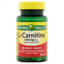 Spring Valley L-carnitina Tablets suplemento dietético 500 mg por porción 30 ct