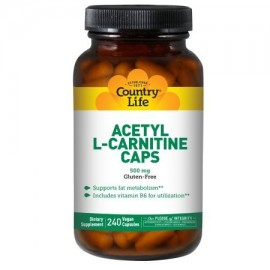 Country Life Vitaminas acetil L-carnitina Vegicaps 500 mg 240 Ct