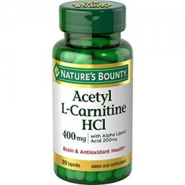 3 Pack Nature's Bounty Acetil L Carnitina-HCl 400 mg 30 cápsulas cada uno