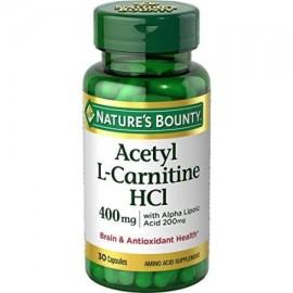 Nature's Bounty Acetil L Carnitina-HCl 400 mg de ácido Amino Suplemento 30 Cápsulas
