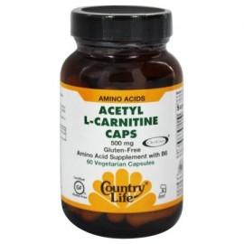 Country Life Vitamins - acetil L-carnitina 500 mg 60 Vegicaps