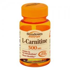 Sundown Naturals L-carnitina 500 mg tabletas de suplementos dietéticos - 30 CT