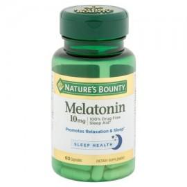 Nature's Bounty cápsulas de melatonina suplemento dietético 10 mg 60 conteo