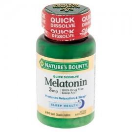 Nature's Bounty Melatonina tabletas de disolución rápida 3 mg 240 recuento