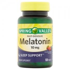 Spring Valley sabor a fresa Rápido Disolver melatonina dietético suplemento tablillas 10 mg 120 recuento