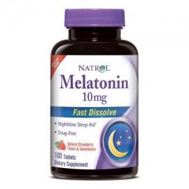 Natrol melatonina Fast Disolver 10 mg aquí sabor Citrus Punch 60 ct