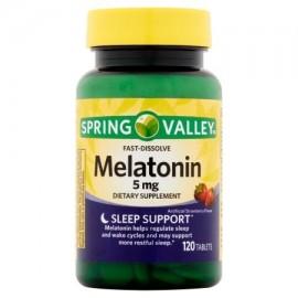 Spring Valley melatonina Artificial Strawberry Flavor 5 mg Tablets 120 recuento