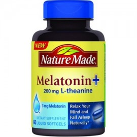 Nature Made Melatonina - 200 mg L-teanina Suplemento dietético líquido Softgels 60 recuento