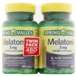 Spring Valley Melatonina 3 mg Suplemento Twin Pack Tablets dietética 480 ct