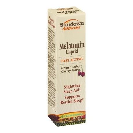 Sundown Naturals La melatonina líquida sueño nocturno Aid de cereza 20 onzas líquidas