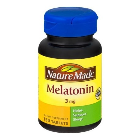 Nature Made Tablets melatonina suplemento dietético 3 mg 150 ct