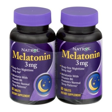 Natrol Melatonina 3 mg tabletas de suplementos dietéticos - 2 PK 600 CT