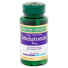 Nature's Bounty Dual Spectrum suplemento melatonina dietética comprimidos bicapa 5 mg 60 conteo