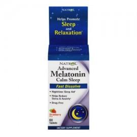 Natrol sueño tranquilo avanzada melatonina Sabor Fresa rápido comprimidos que se disuelven 60 ct