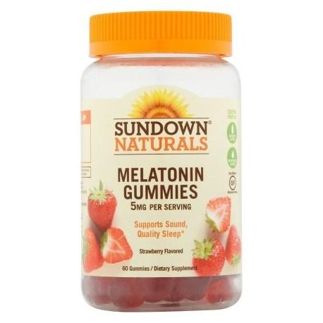Sundown Naturals Melatonina Suplemento dietético sabor fresa Gummies sin gluten 5 mg 60 conteo