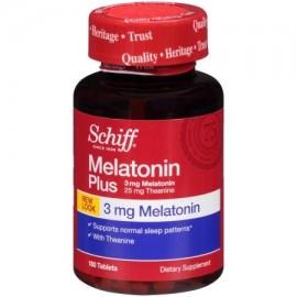 Schiff Melatonina Plus 180 tabletas - Suplemento con la ayuda del sueño melatonina natural y teanina