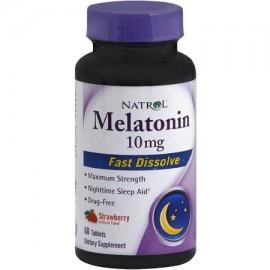 Natrol Fast Disolver melatonina Tabletas 10 mg de la fresa 60 ea (Pack de 2)